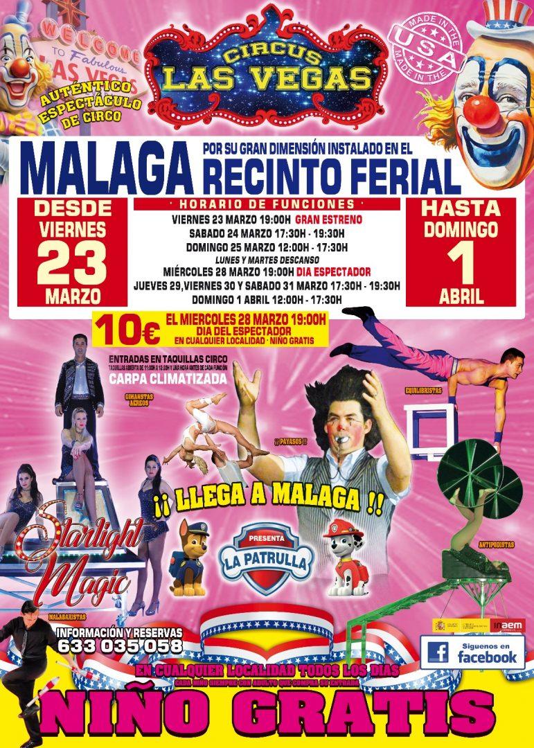 Cartel Málaga Recinto feria Circus Las Vegas
