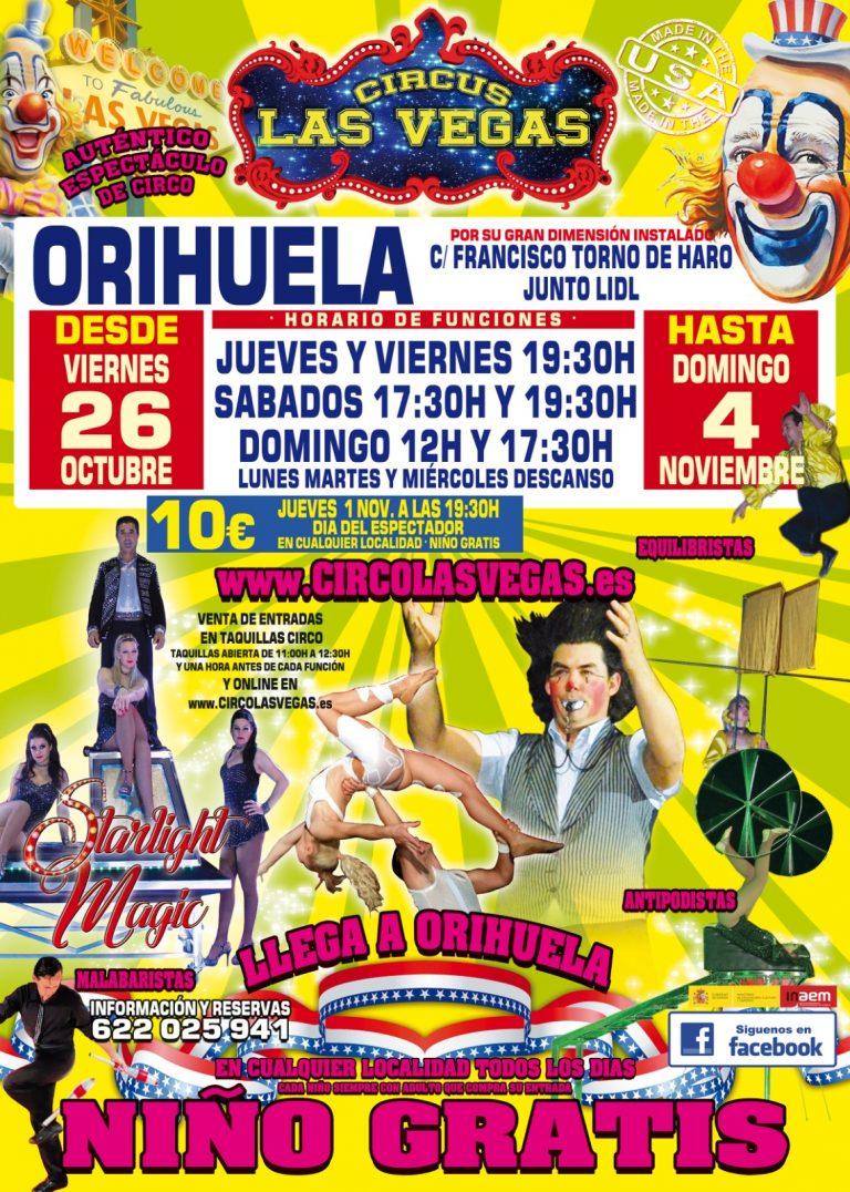 Circus las Vegas en Orihuela, taquillas abiertas de 11:00 a 12:30 y una hora antes de cada función